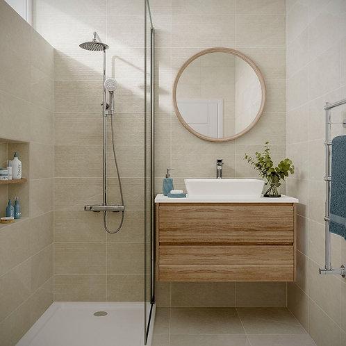 Ingleton Cream Matt 250x500mm Ceramic Structured Décor Wall Tile