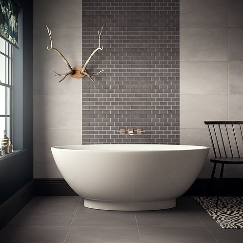 Cemento Dark Grey Brick Mosaic 96x47mm