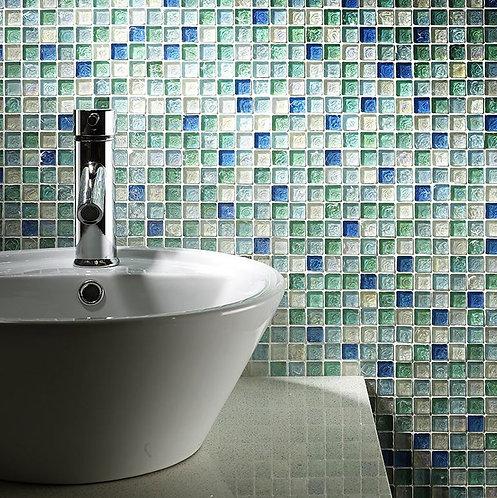 Hammered Pearl Aqua Glass Mosaic 23x23mm