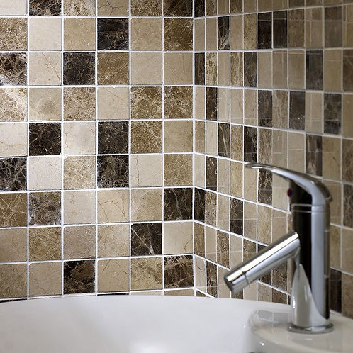 Emperador Mix Polished Marble Mosaic 50x50mm