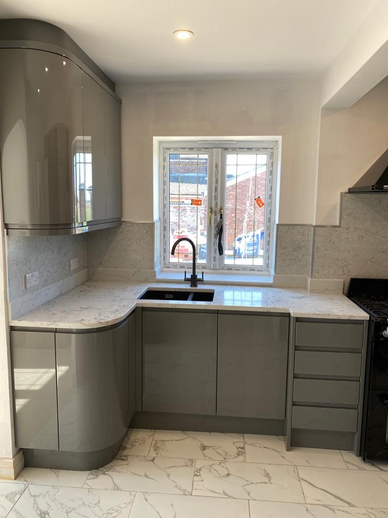 High Gloss Grey Kitchen