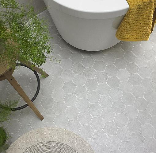 Rainstone Grey Hexagon Porcelain Mosaic 93x93mm