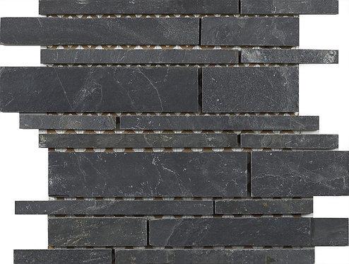 Linear Black Slate Mosaic 300x260mm