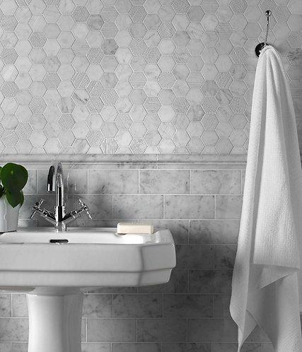 Carrara Polished Marble Wall & Floor 73 x 152mm