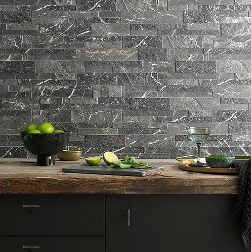 Marmi Black Matt Glazed Porcelain Wall Splitface 160x394mm