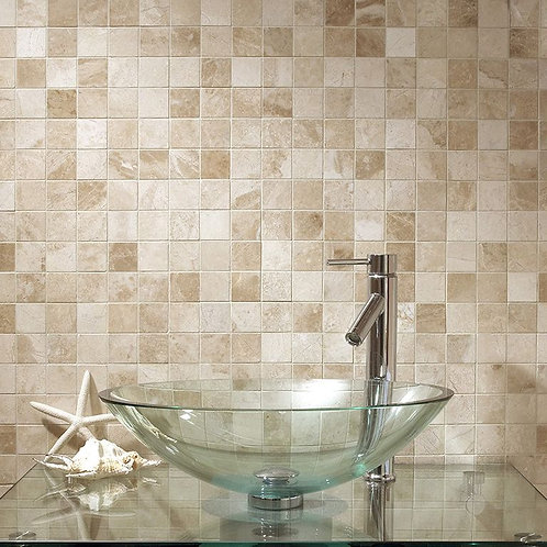 Vanilla Cream Tumbled Marble Mosaic 50x50mm