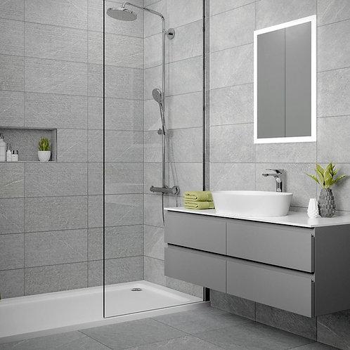 Ingleton Grey Matt 250x500mm Ceramic Structured Décor Wall Tile