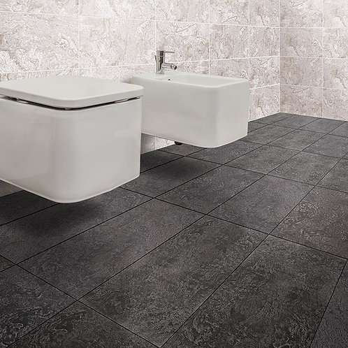 Izen Black Glazed Porcelain Wall & Floor 600x300mm