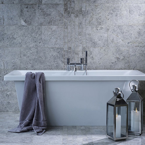 Silver Shadow Grey (Bevelled Edge) Polished Marble Wall  & Floor 610x305mm