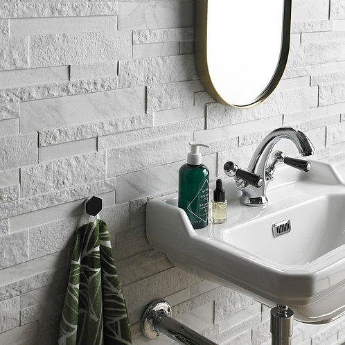 Marmi White Matt Glazed Porcelain Wall Splitface 160x394mm