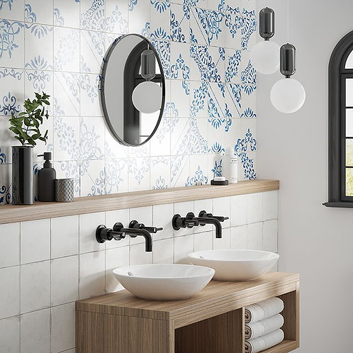 Crafted Blanc Bleu White Porcelain Wall & Floor 185x185mm