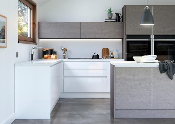 Cosdon - Gloss White and Concrete - Main