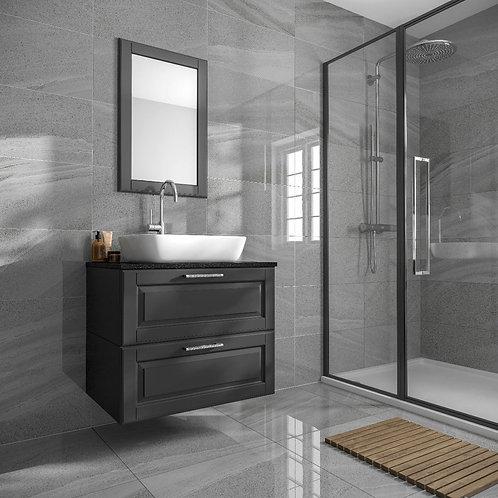 Anderley Dark Grey Polished Glazed Porcelain Wall & Floor Tile 600x600mm