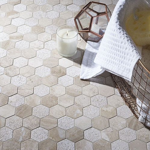 Vanilla Cream Mix Finish Marble Hexagon Mosaic 50x50mm
