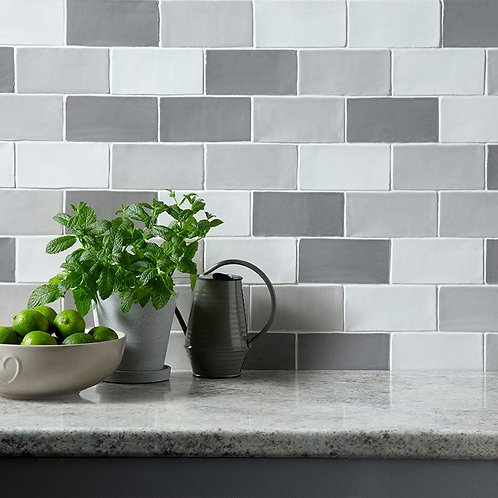 Handmade Dove Grey Ceramic Wall 75x150mm