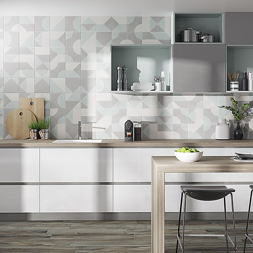 Crafted Cement Play Patchwork Porcelain Wall & Floor 185x185mm