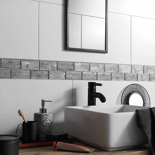 Horizon Silver Wood Effect Glass Brick Mosaic 48x98mm