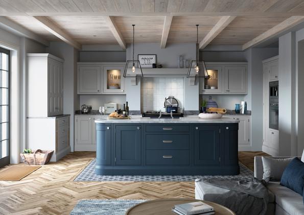 Baystone Light Grey & Dark Blue Ha221 &
