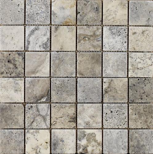 Anatolian Grey Tumbled Travertine Mosaic 48x48mm