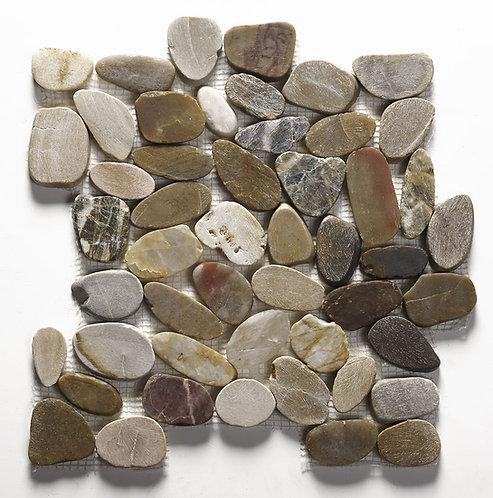 Riverstone Multi Colour Flat Cut Pebble Mosaic - Large CPT05
