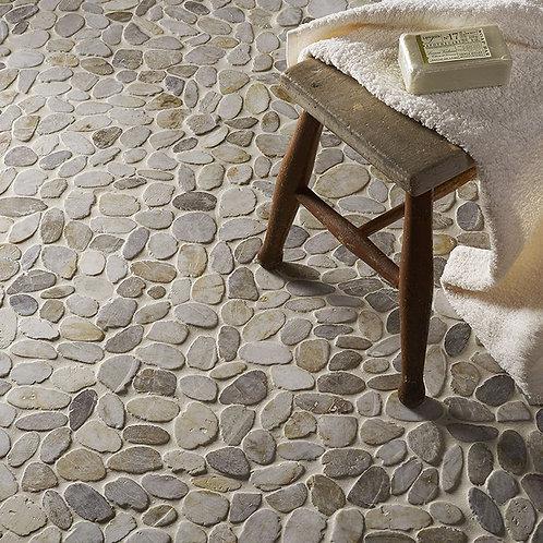 Riverstone White Flat Cut Pebble Mosaic - Large CPT02