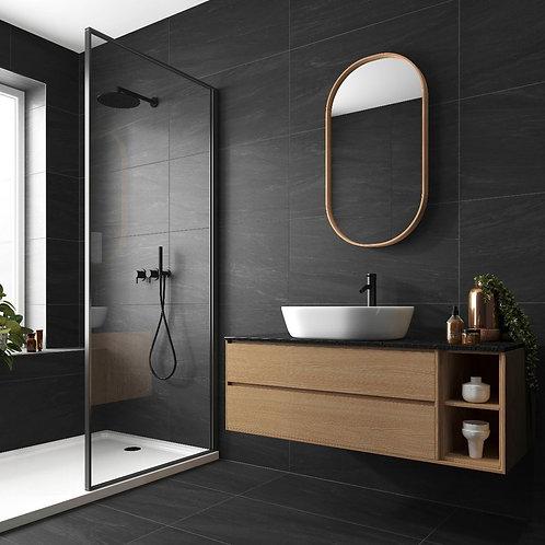 Valmalenco Black Glazed Matt Porcelain Wall & Floor 450x900mm
