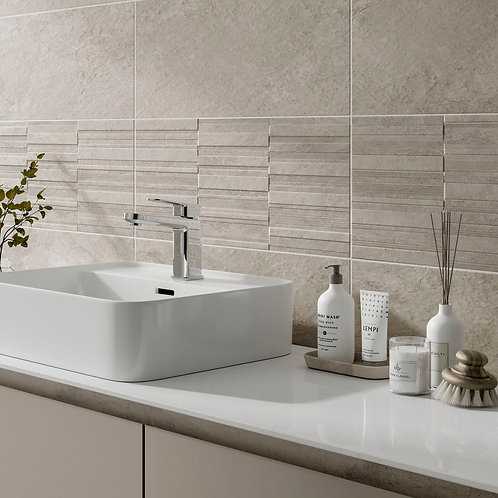 Blakeley Ivory Matt 250x500mm Ceramic Structured Décor Wall Tile