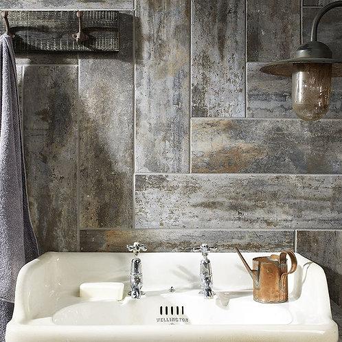 Waltham Distressed Grey Glazed Porcelain Wall & Floor 600x150mm
