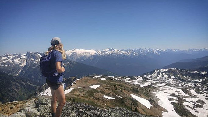 Hiking in the alpine  in BC