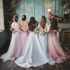 Bride and bridesmaids. Beautiful young w