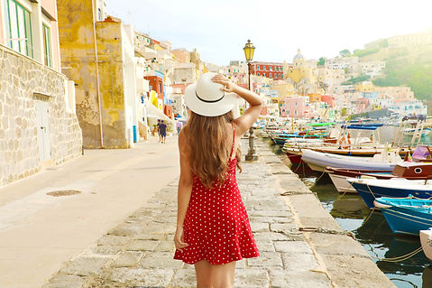 Holidays in Italy. Back view of beautifu