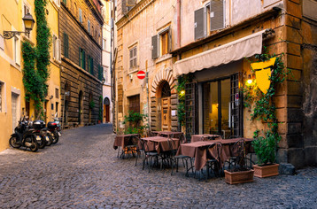 View of old cozy street in Rome, Italy.