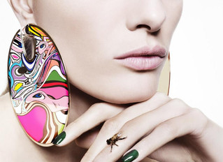 Oscar Earrings (Hommage to Niemeyer) by Misha World. Made in Anodized Aluminum, Pespex and Enamel.