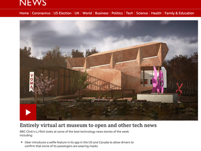 Beeb all about it. The worlds first Virtual Art Museum is here. Sculpture on the pavilion by Misha.
