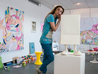 At the studio in London, with my beloved resin sculpture