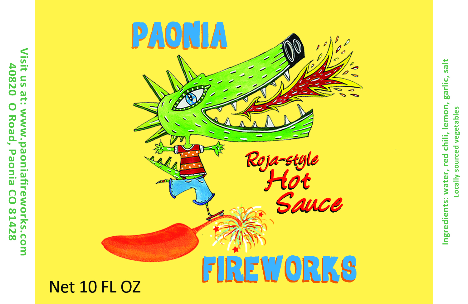 Paonia Fireworks Product label