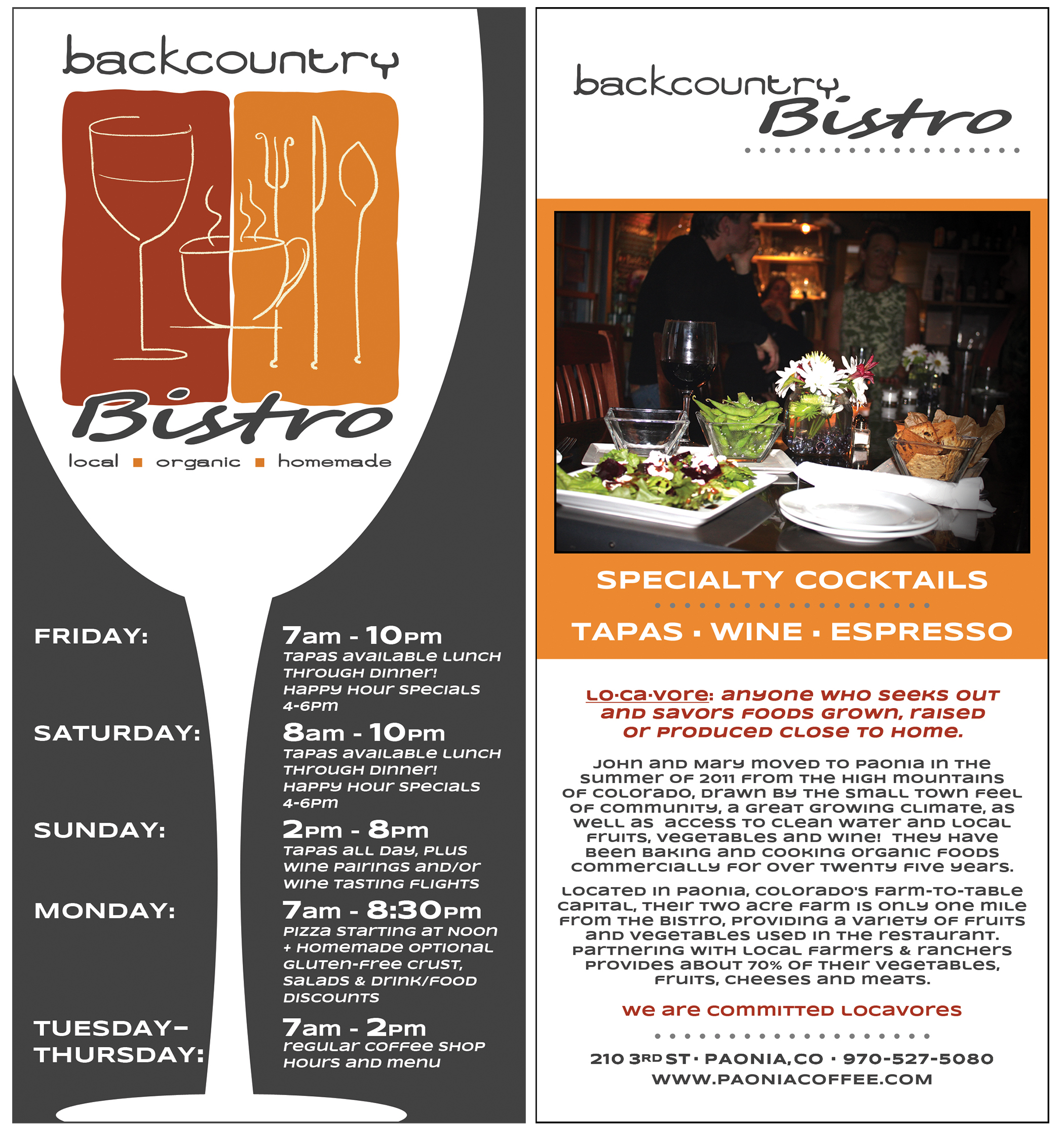 Backcountry Bistro - RackCard
