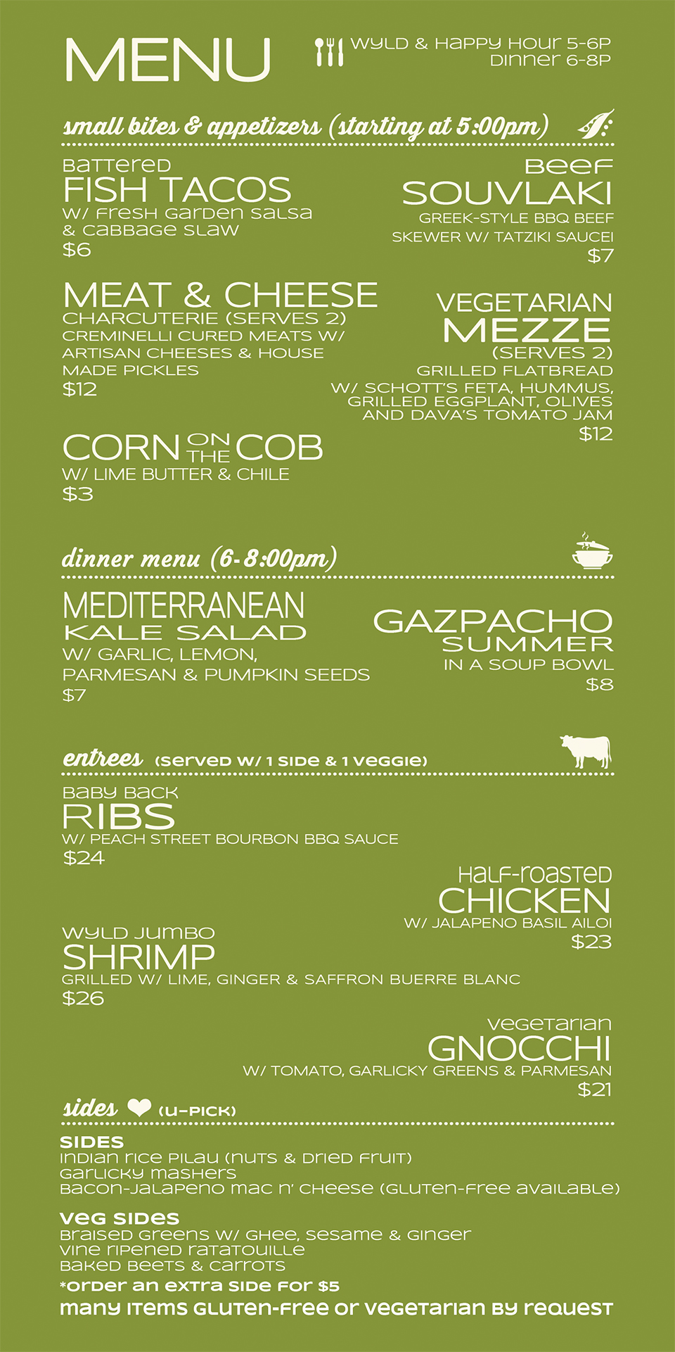 Fresh & Wyld Menu - Front