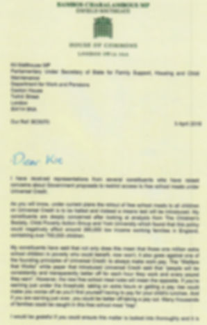 Bambo Charalambous letter on Universal Credit