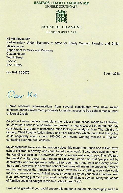 Bambo Charalambous letter on Universal Credit