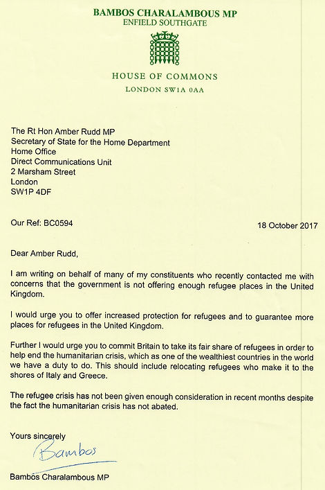 Bambos Charalambous letter on refugees