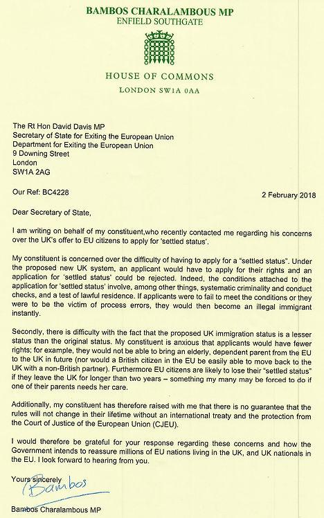 2 Feb 18 Letter to David Davis on EU Cit