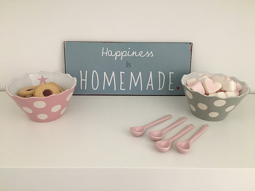 Set of 4 Pink Ceramic Spoons