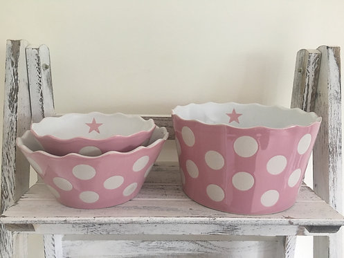 Small Pink Happy Bowl with Dots