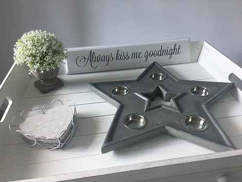 Grey Star Tea Light Holder