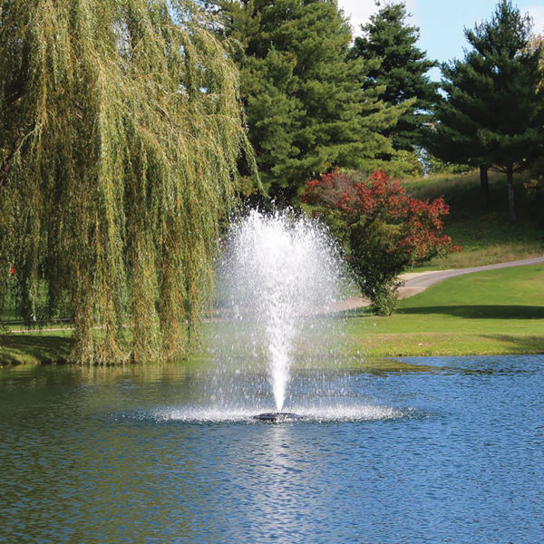 Kasco floating decortaive fountain display for ponds, lakes, dugouts, to aerate and treat pond problems