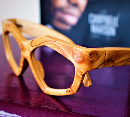 Wooden eyewear and sunglasses by Campbell Marson