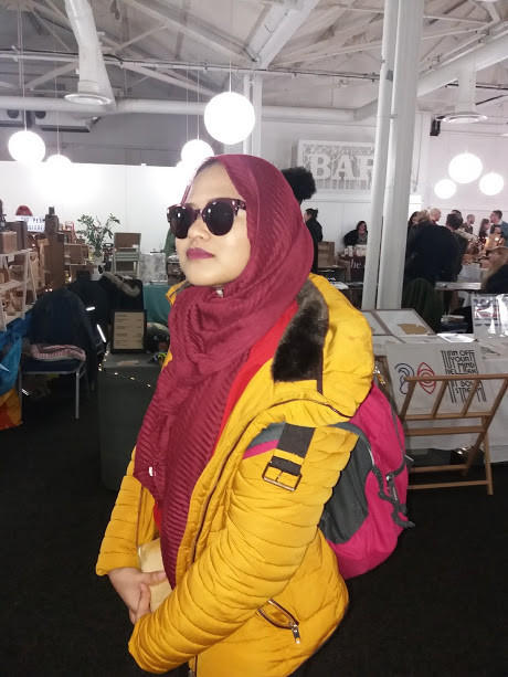Colour-matching sunglasses to the headscarf.