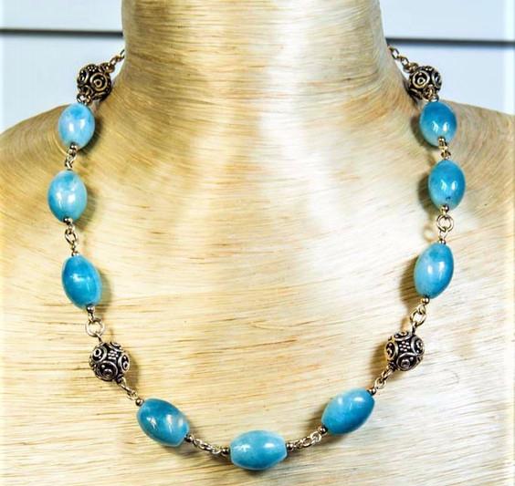 Aqua Marine Baded Necklace