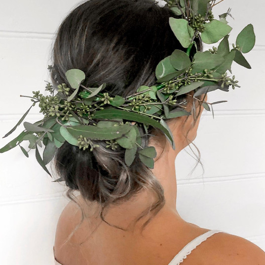 dark hair with leaves decoration